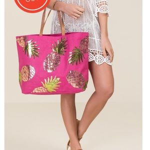 Mud Pie Pink Gail Sequin Pineapple Tote SOLD OUT!